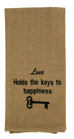 Burlap Check Keys To Happiness Dishtowel