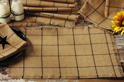 Soft Cotton Burlap Tan Check Napkin