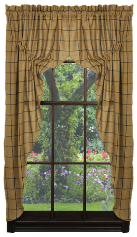 Soft Cotton Burlap Tan Check Prairie Curtain Set