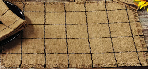 Soft Cotton Burlap Tan Check Placemat