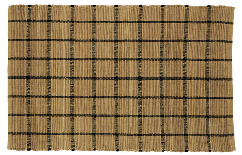 Soft Cotton Burlap Tan Check Rectangle Rug