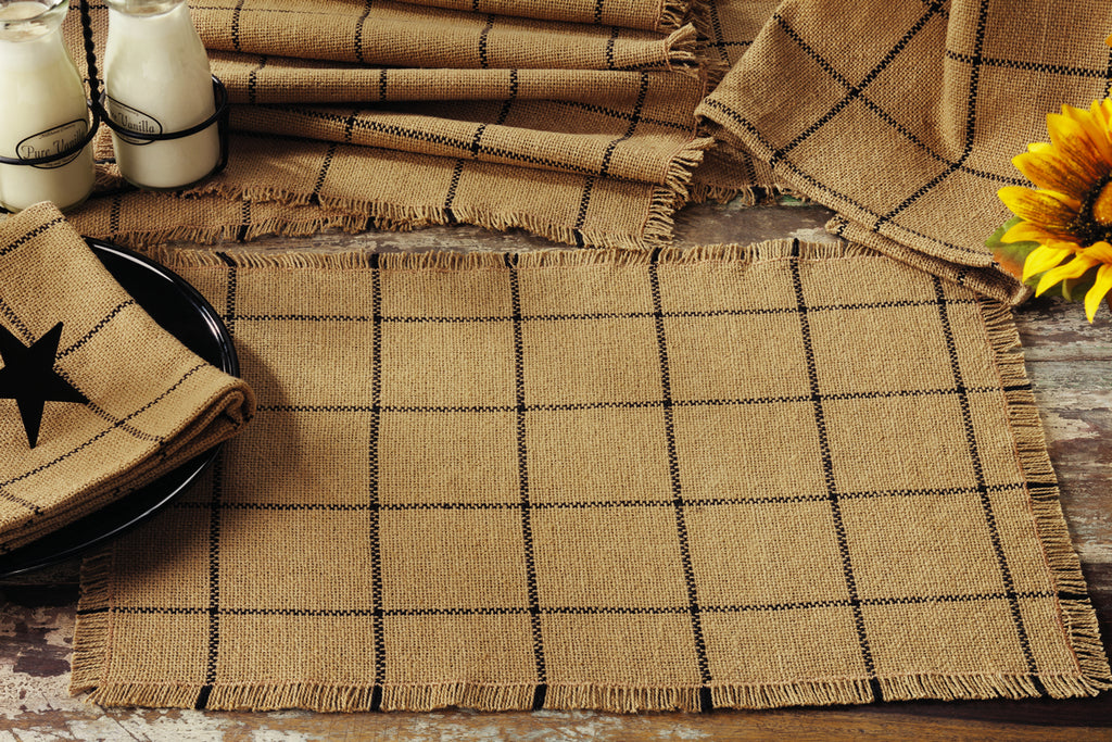 Soft Cotton Burlap Tan Check Short Table Runner