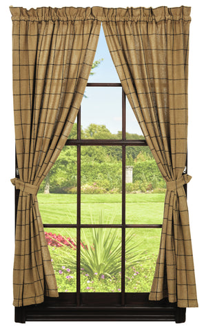 Soft Cotton Burlap Tan Check Short Panel Window Curtains Pair - 72x63 total - 2 inch rod pocket