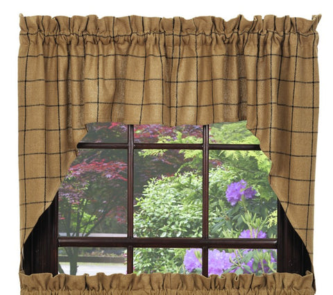 Soft Cotton Burlap Tan Check Swag Set Window Curtains Pair - 72x36 total - 2 inch rod pocket