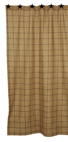 Soft Cotton Burlap Tan Check Shower Curtain