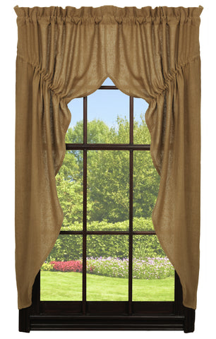 Soft Cotton Burlap Tan Prairie Curtain Set