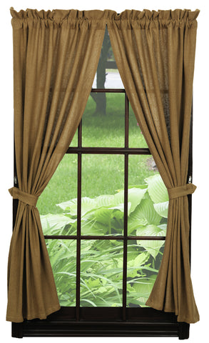 Soft Cotton Burlap Tan Short Panel Window Curtains Pair - 72x63 total - 2 inch rod pocket