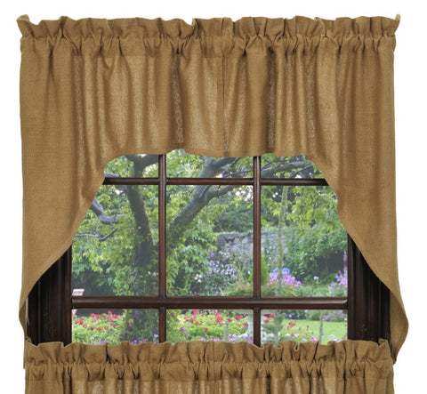 Soft Cotton Burlap Swag Set Window Curtains Pair - 72x36 total - 2 inch rod pocket