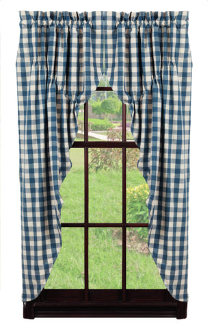 Picnic Blue Prairie Curtain Set
