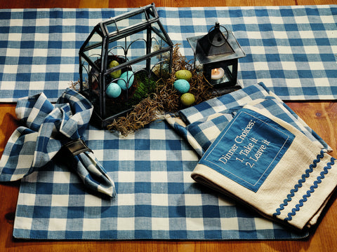 Picnic Blue Short Table Runner