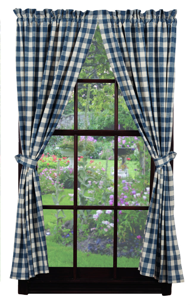 Picnic Blue Short Panel Window Curtains Pair - 72x63 total - 2 inch rod pocket