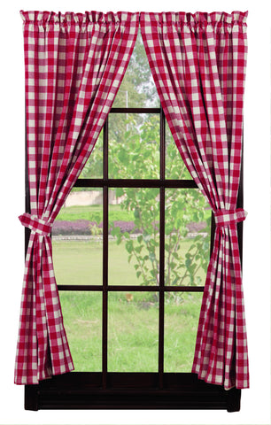 Picnic Red Short Panel Window Curtains Pair - 72x63 total - 2 inch rod pocket