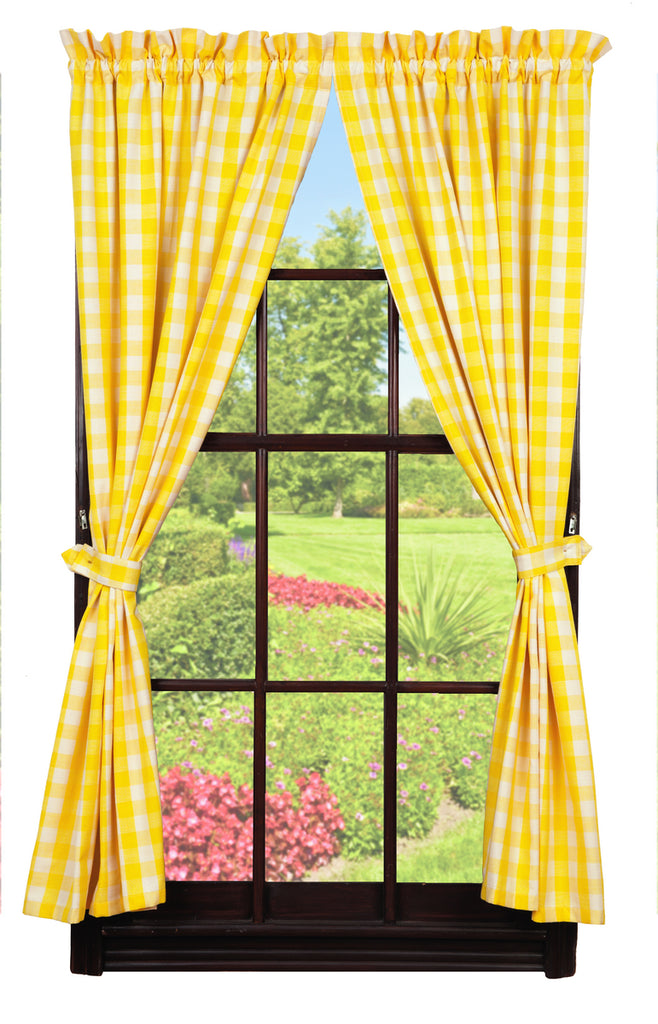 Picnic Yellow Short Panel Window Curtains Pair - 72x63 total - 2 inch rod pocket