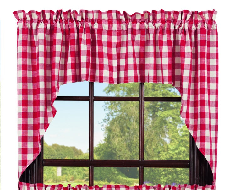 Picnic Red Swag Set Window Curtains Pair - 72x36 total - 2 inch rod pocket