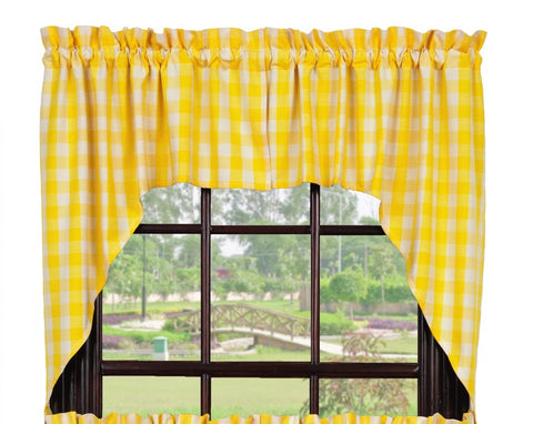 Picnic Yellow Swag Set Window Curtains Pair - 72x36 total - 2 inch rod pocket