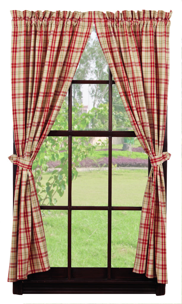 Sangria Short Panel Window Curtains Pair - 72x63 total - 2 inch rod pocket