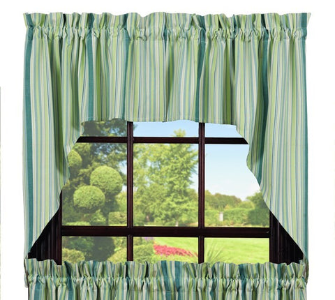 Mint Swag Set Window Curtains Pair - 72x36 total - 2 inch rod pocket