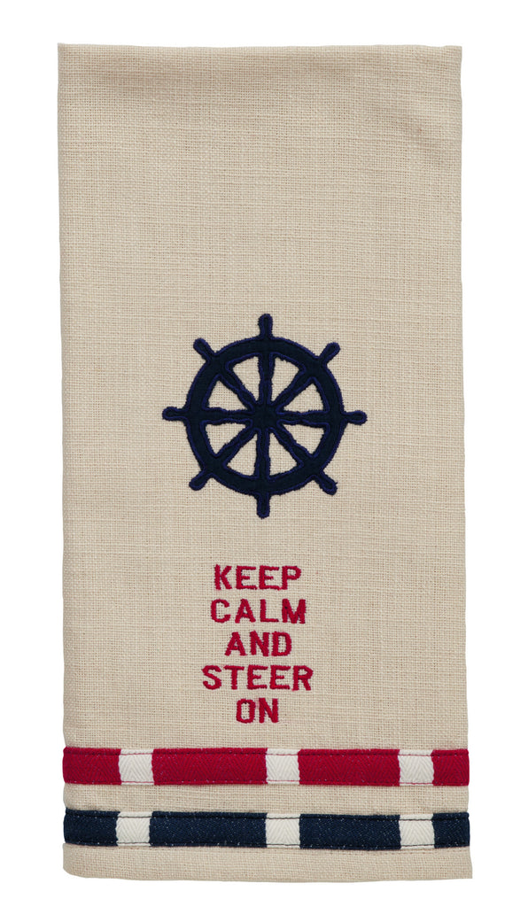 "Wheel ""Keep Calm And Steer On"" Dishtowel - Country Beach Nautical Boat Kitchen Dish Towels"
