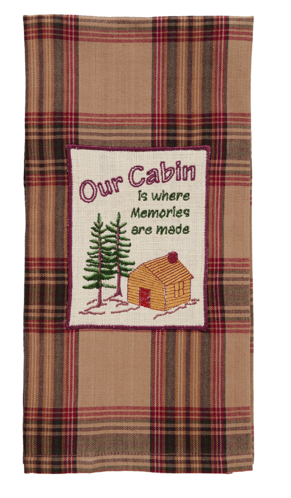 "Pinecone ""Our Cabin"" Dishtowel - Country Farmhouse Kitchen Dish Towels"