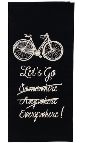 French Postcard Let's Go Everywhere! Dishtowel - Country Farmhouse Kitchen Funny Dish Towels