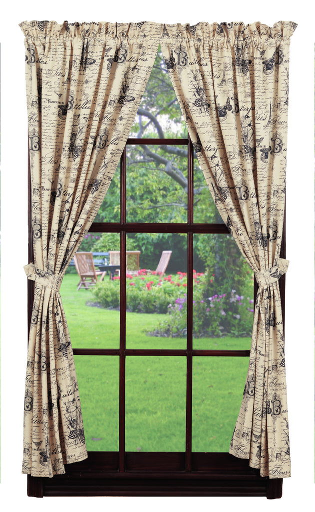 French Postcard Short Panel Window Curtains Pair - 72x63 total - 2 inch rod pocket