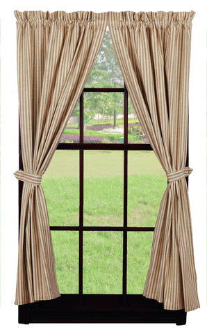 Au Natural Stripe Short Panel Window Curtains Pair - 72x63 total - 2 inch rod pocket