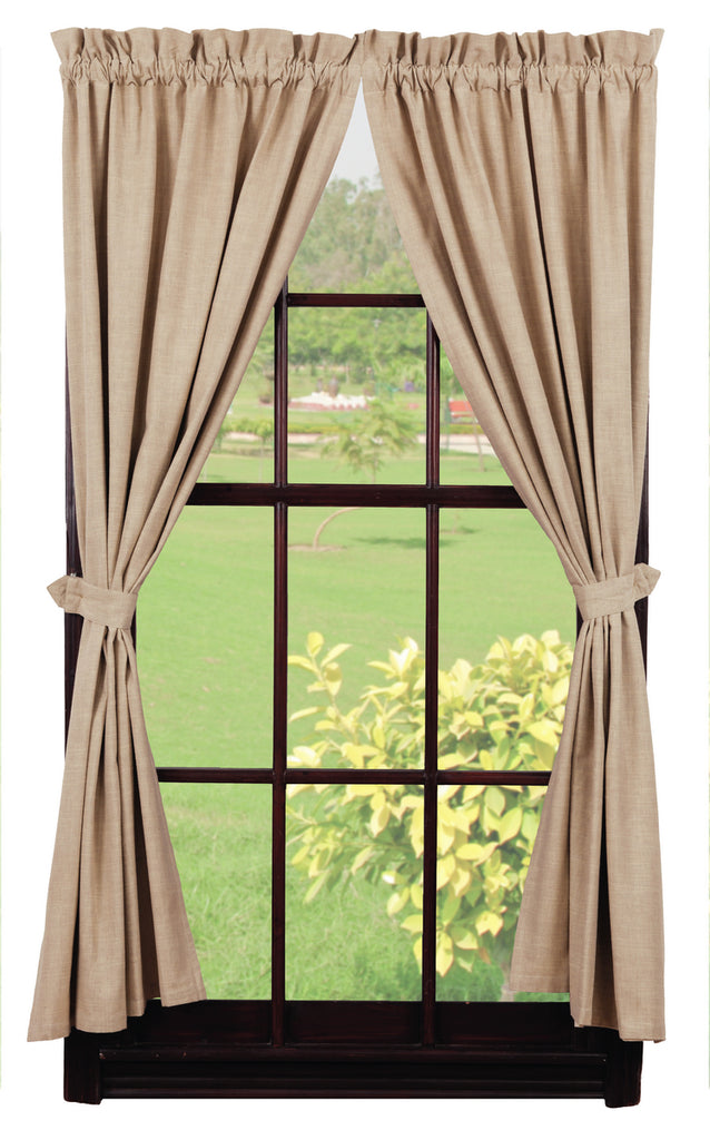 Au Natural Solid Short Panel Window Curtains Pair - 72x63 total - 2 inch rod pocket