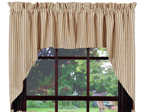 Au Natural Stripe Swag Set Window Curtains Pair - 72x36 total - 2 inch rod pocket