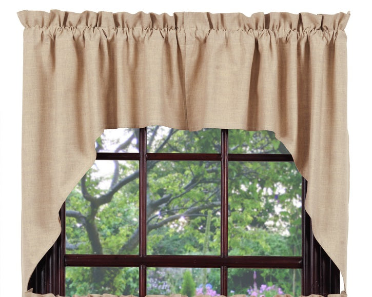 Au Natural Solid Swag Set Window Curtains Pair - 72x36 total - 2 inch rod pocket