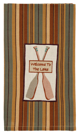 Cordwood Welcome To The Lake Dishtowel - Country Farmhouse Fishing Kitchen Dish Towels