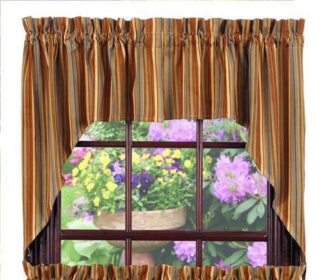 Cordwood Swag Set Window Curtains Pair - 72x36 total - 2 inch rod pocket