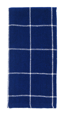 Soft Cotton Burlap Check Indigo Blue Dishtowel