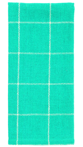 Soft Cotton Burlap Check Turquoise - Aqua Blue Green  Dishtowel