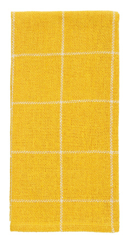 Soft Cotton Burlap Check Yellow Dishtowel