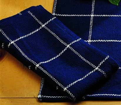 Soft Cotton Burlap Check Indigo Blue Napkin
