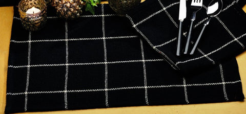 Soft Cotton Burlap Check Black Placemat