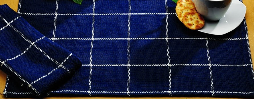 Soft Cotton Burlap Check Indigo Blue Placemat