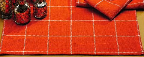 Soft Cotton Burlap Check Tangerine - Orange Placemat