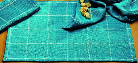Soft Cotton Burlap Check Turquoise - Aqua Blue Green  Placemat