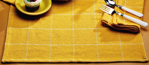 Soft Cotton Burlap Check Yellow Placemat