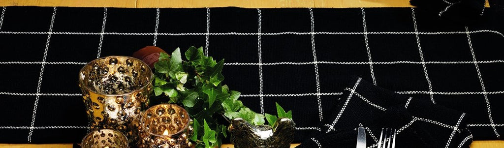Soft Cotton Burlap Check Black Long Table Runner