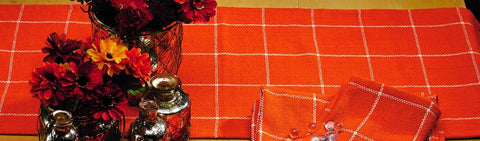 Soft Cotton Burlap Check Tangerine - Orange Long Table Runner