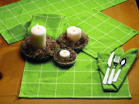 Burlap Check Lime Short Table Runner