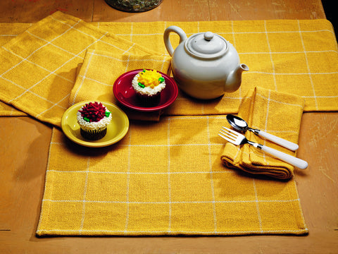 Soft Cotton Burlap Check Yellow Short Table Runner