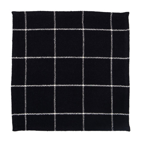 Soft Cotton Burlap Check Black Tablemat