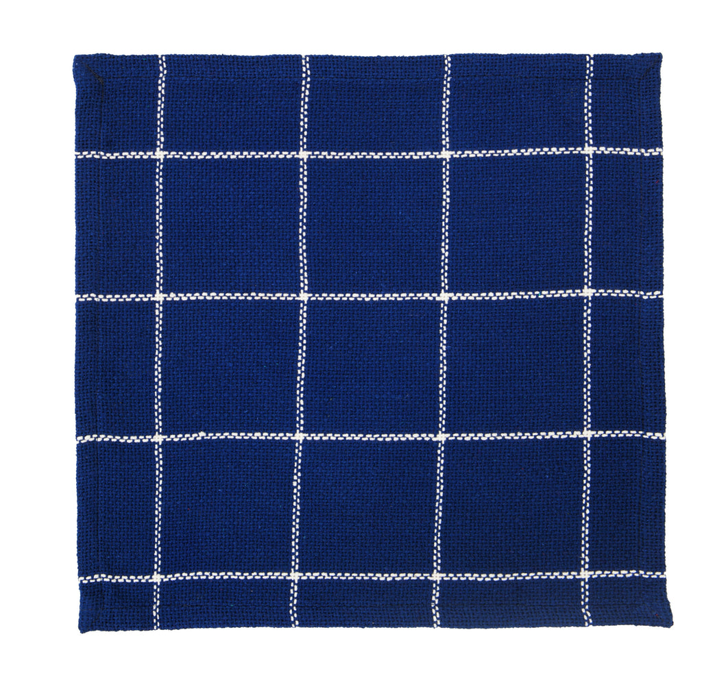 Soft Cotton Burlap Check Indigo Blue Tablemat