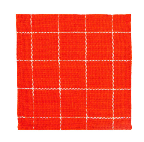 Soft Cotton Burlap Check Tangerine - Orange Tablemat