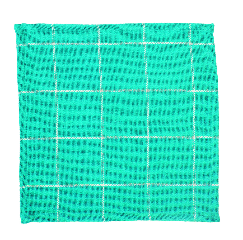 Soft Cotton Burlap Check Turquoise - Aqua Blue Green  Tablemat