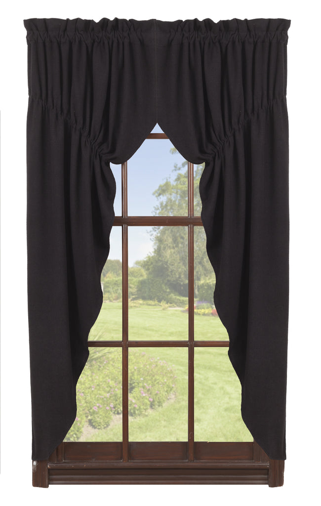 Soft Cotton Burlap Black Prairie Curtain Set