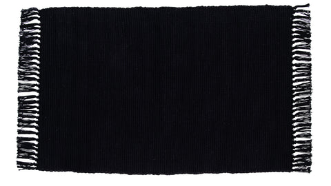 Soft Cotton Burlap Black Rectangle Rug